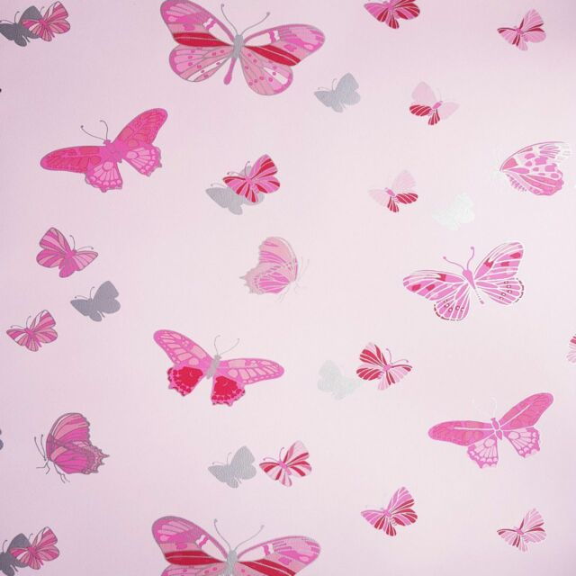 Butterfly Pink Metallic Silver Wallpaper 20001 By Debona