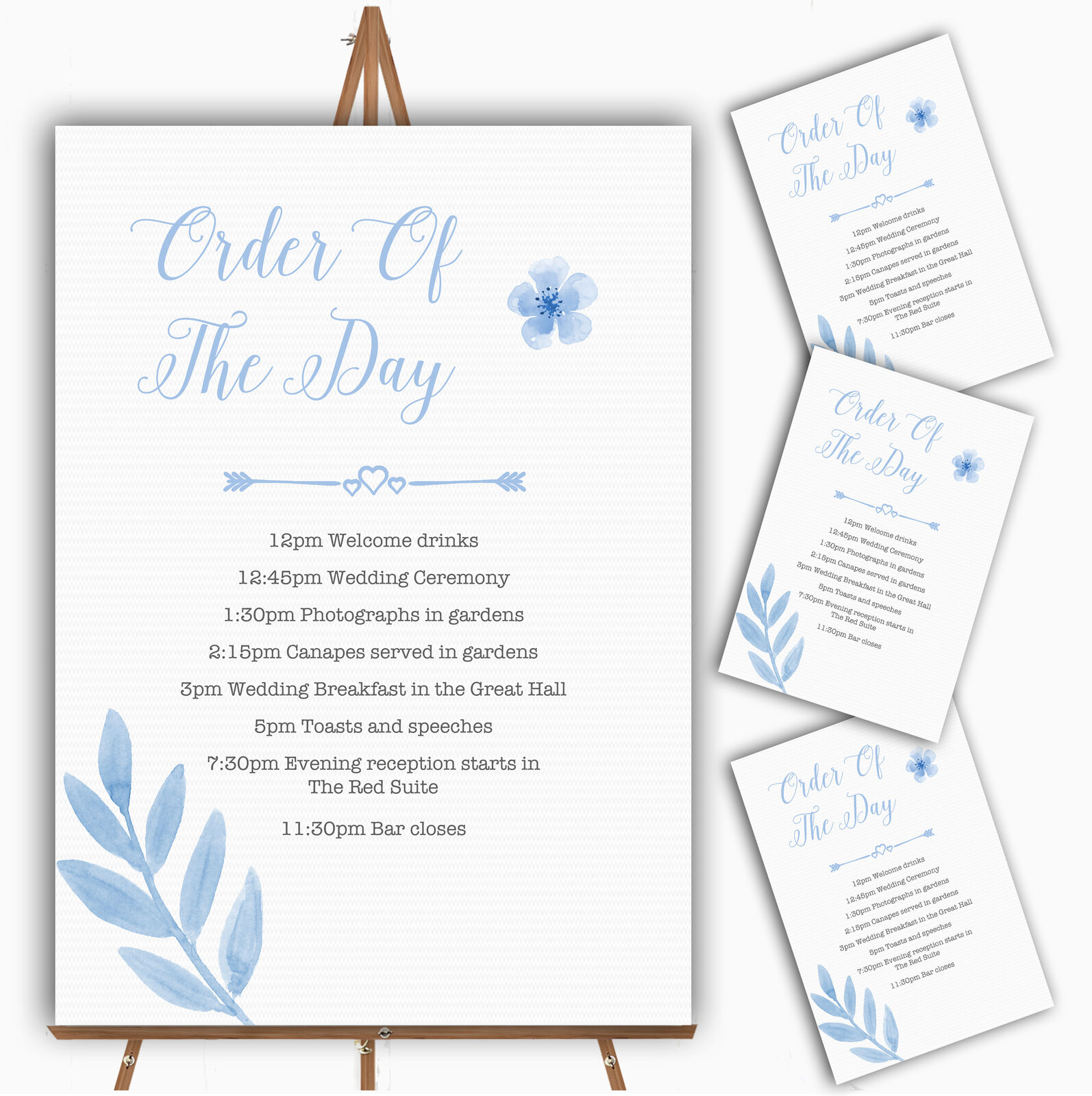 Watercolour Subtle Powder Baby Blau Personalised Wedding Order Of The Day Cards