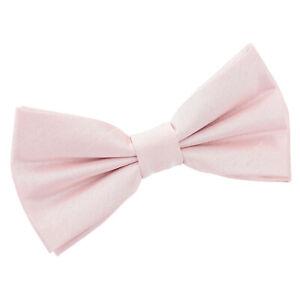 Blush-Pink-Mens-Pre-Tied-Bow-Tie-Pocket-Square-Cufflinks-Plain-Shantung-by-DQT