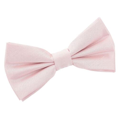 DQT NOUVEAU plaine solide Chantoung Rose Blush Homme Pre-Tied Bow tie hanky cufflinks