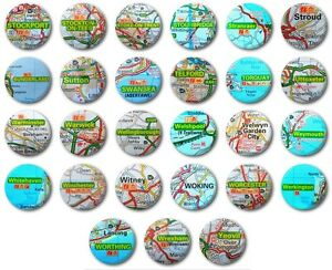 "Various Designs H-M Road Map -  1/"" // 25mm Button Badge - UK TOWNS /& CITIES"