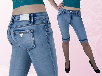 Damen Jeans Capri Hose Caprijeans Hüftig Blau 34 36 Gesundheit FöRdern Und Krankheiten Heilen