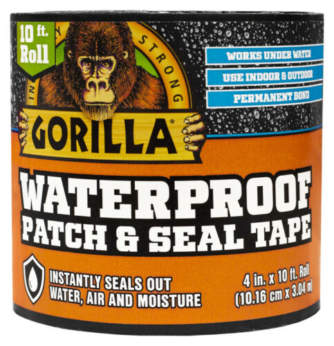 """NEW Gorilla 4612502 Waterproof Tape Patch and Seal Permanent Bond 4/"""" X 10/' Black"""