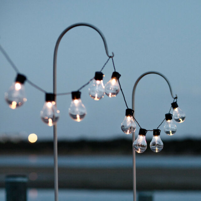 Globe Fairy Lights Solar .Powered Outdoor 10 LEDs White 6m Approx