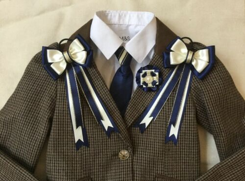 childs equestrian showing set show tie and bows In NAVY CREAM /& GOLD Lead Rein