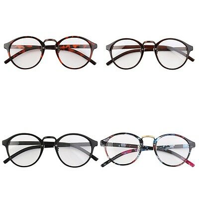 Retro Geek Vintage Nerd Large Frame Fashion Round Clear Lens Glasses EH