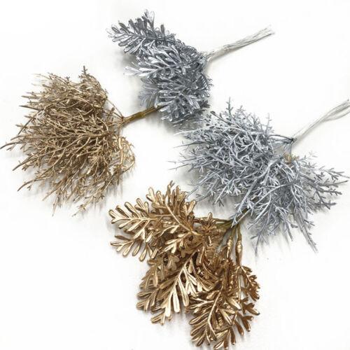 Wedding Favor Simulation Flower Artificial Pine Branch Gold Silver Faux Plant