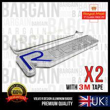 2X VOLVO R DESIGN CHROME METAL BADGE EMBLEM LOGO STICKER XC60 C70 S60 V40 XC90