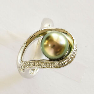 ABROLHOS-PEARL-RING-9-2mm-CULTURED-PEARL-REAL-DIAMONDS-14K-WHITE-GOLD-SIZE-N-NEW