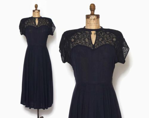 Vintage 1940s Navy Soutache dress Nude Illusion St