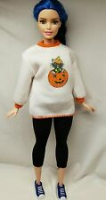 CURVY FIT! MATTEL WHITE ORANAGE KITTY PUMPKIN SWEATER ONLY~ BARBIE CLOTHING