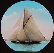 RARE COLOUR Glass Magic Lantern Slide RACING YACHT VIGILANT C1890 PHOTO RY