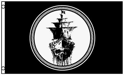 3'x5' Ghost Pirate Ship Flag Black Sea Mutiny Jolly Roger Skull Sword Banner 3X5