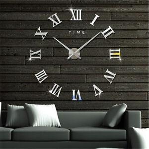 Diy 3d Wall Clock Roman Numerals Large Mirrors Surface