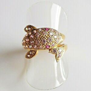 Handarbeit Pink Saphir Rubin Damen Ring Delfin 925 Silber Gelbgold 17,5 mm 55