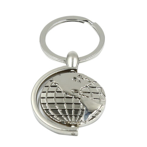 Creative Rotating Globe Relief Map Keychain Keyring Pendant Festival Gift Z