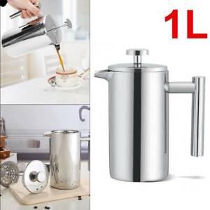1L-Luxus-doppelwandig-Press-Kaffeezubereiter-Kaffeepresse-Warmhaltefunktion
