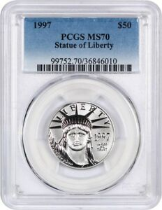 1997 Platinum Adler Pcgs Ms70 - Statue Liberty 1/2 Oz
