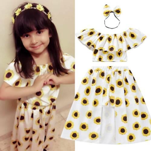 Kids Baby Girls Outfits Sets Sunflower Cropped Ruffle Tops Skirt Summer Dress