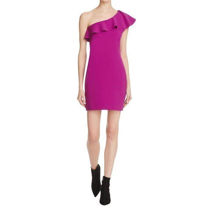 325 Parker purplea One Shoulder Ruffle Slimming Haiden Haiden Haiden Sheath Dress NWT P311 aba5a8