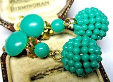 VINTAGE 1960's GREEN EARLY PLASTIC Funky Retro Drop Jewellery EARRINGS