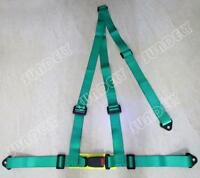 GREEN 3 POINT RACING SEAT BELT HARNESS FOR CAR/TRACK DAY/OFF ROAD BUGGY