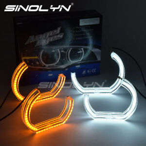 Acrylic-Cover-LED-Angel-Eye-Halo-Rings-Switchback-Dual-Color-For-BMW-F30-E90-E92