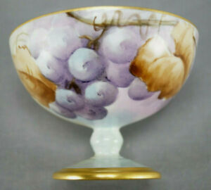 Set-of-4-German-Hand-Painted-Signed-G-S-Martin-Purple-Grapes-Sherbet-Cups