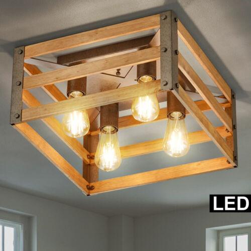 LED Vintage Decken Lampe Natur Holz Kiste Retro Leuchte braun Filament dimmbar