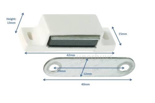 5pc White /& Screws 42mm Magnetic Cabinet Cupboard Door Fastener Latch Catch S