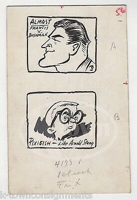 FRANCES X. BUSHMAN & ARNOLD STANG ORIGINAL CARTOONIST SIGNED INK DRAWING SKETCHE