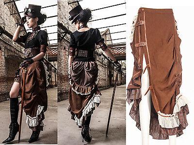 RQ-BL Rock Steampunk Victorian Lolita Gothic Rock Lace Tüll Skirt braun Maxi