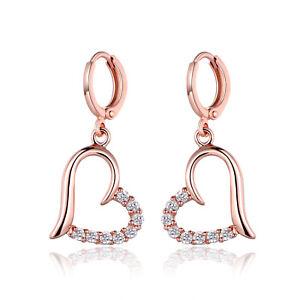 Fashion-18K-Rose-Gold-Filled-Crystal-Topaz-Women-Hoop-Drop-Earrings-Journey-Gift