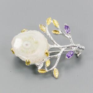 Handmade-Natural-Druzy-Quartz-925-Sterling-Silver-Brooch-NB07334