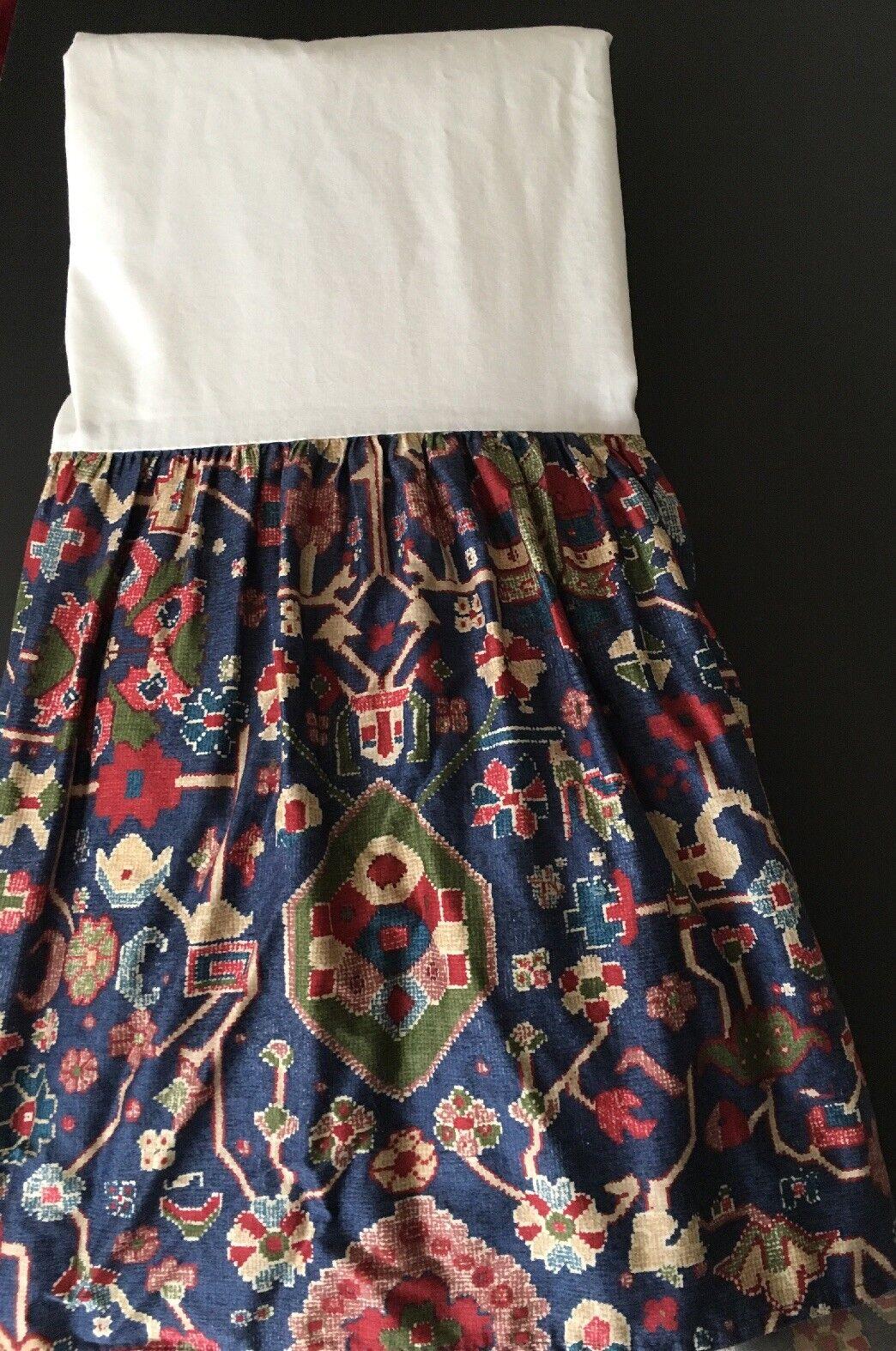 Ralph Lauren Queen Bed Skirt Orienta Navy 15  drop 100% Cotton