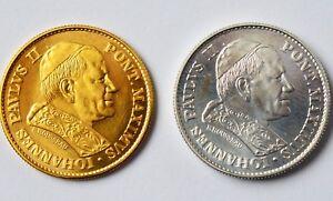 2 Medaillen, 999 Gold 6,45 G + 925 Silber Papst Johannes Paul Ii 1980 Medaille
