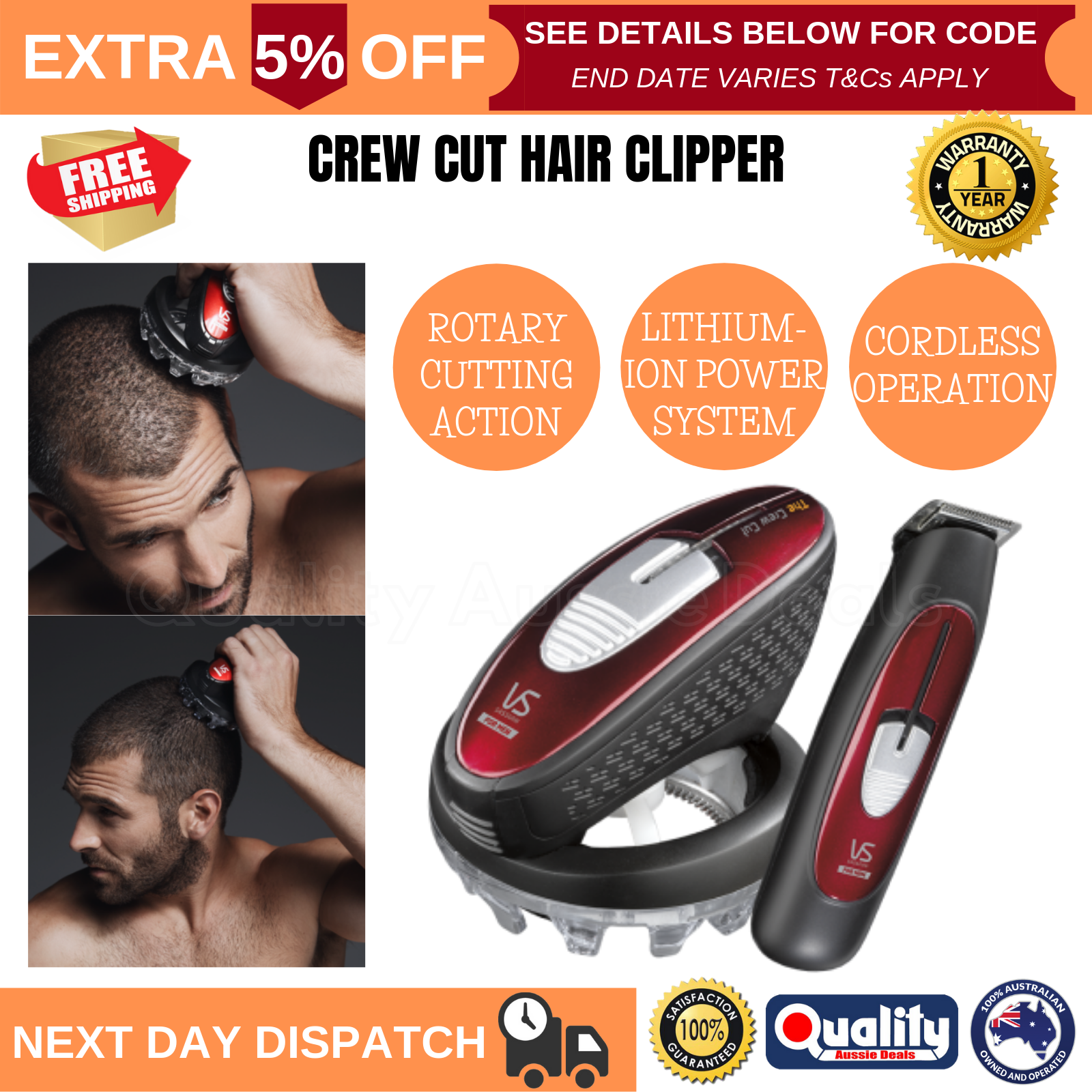 Details about Mens Hair Clippers Trimmer Crew Cut Hair Home Cutting  Grooming Shaver VS Sassoon