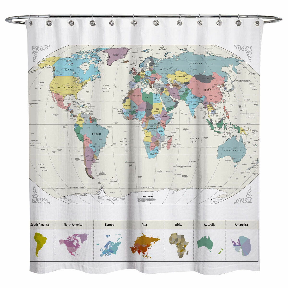 Sunlit World Map City Fabric Water Repellent Bathroom Shower Curtain White