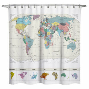 Details about Sunlit World Map City Fabric Water Repellent Bathroom Shower  Curtain White