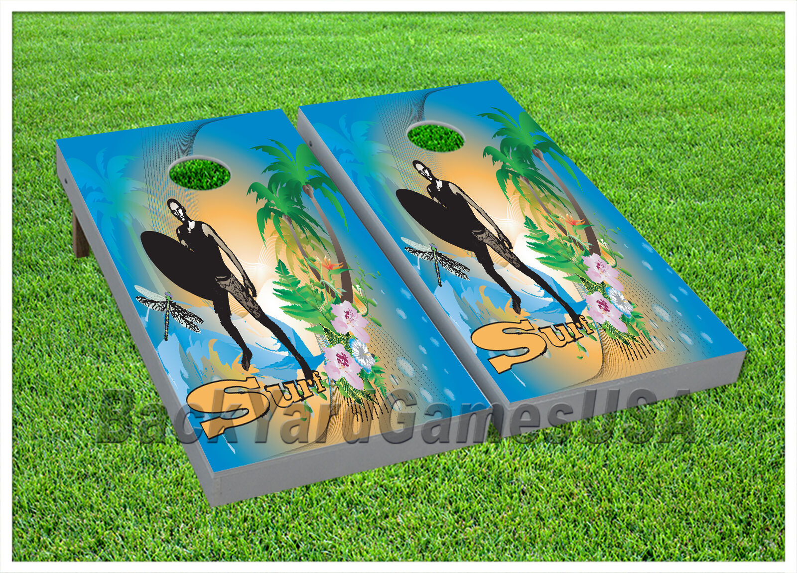 Surf CORNHOLE BEANTasche TOSS GAME w Tasches Game Boards Ocean Wave Surfing Set 951