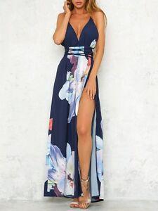 buy online 7b686 73055 Dettagli su Elegante raffinato vestito abito lungo blu scollo spacco fiori  morbido 3831