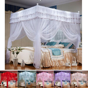 Image is loading 4-Corner-Post-Bed-Curtain-Canopy-Mosquito-Netting- & 4 Corner Post Bed Curtain Canopy Mosquito Netting Canopies Twin ...