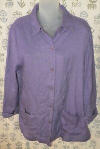 NORDSTROM Women's Medium Purple Linen-Look Rayon Button Shirt Jacket Top EUC