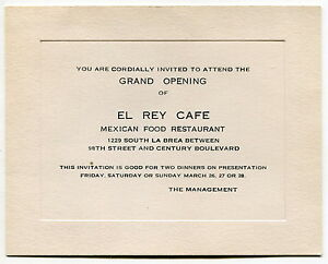 Old Invitation Card El Rey Cafe Mexican Restaurant Grand