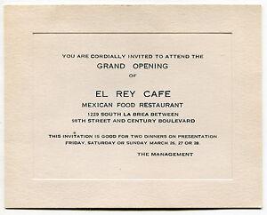 Old invitation card el rey cafe mexican restaurant grand image is loading old invitation card 034 el rey cafe 034 stopboris Images