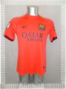 baskets pour pas cher b4ad1 1db64 Détails sur A - Maillot Foot FC Barcelone Nike Orange Fluo Qatar Airways N°  31 Munir T-XL