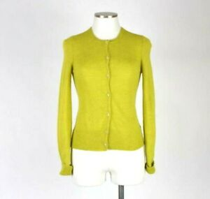 Chartreuse-Green-Alpaca-Wool-Knit-Cardigan-Sweater-Lightweight-Top-Womens-Size-M