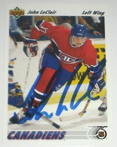 JOHN-LECLAIR-SIGNED-UPPER-DECK-MONTREAL-CANADIENS-ROOKIE-CARD-AUTOGRAPH-AUTO