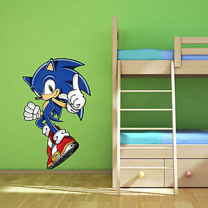 Sonic the hedgehog multi colour wall art sticker children 39 s bedroom decal mural ebay - Sonic wall decals ...