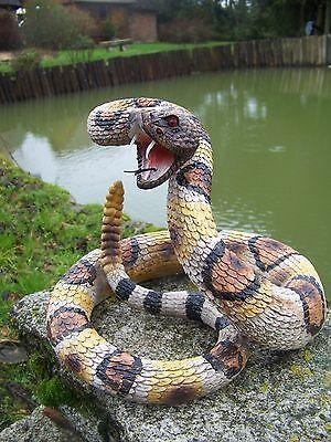 Na0661 Grand Figurine Statuette Serpent A Sonnette Reptile 22 Cm